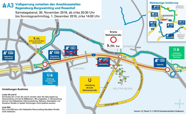 sperrung, A3, 30,11,2019, 30.11.2019, Umleitung, Autobahndirektion Südbayern, © Autobahndirektion Südbayern